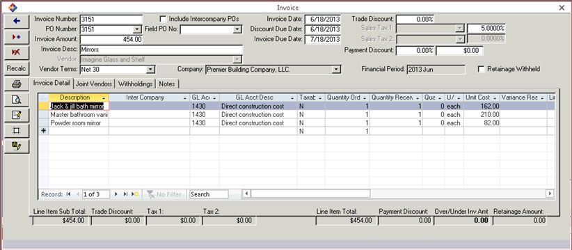 Adding Or Editing An Invoice - Invoice details